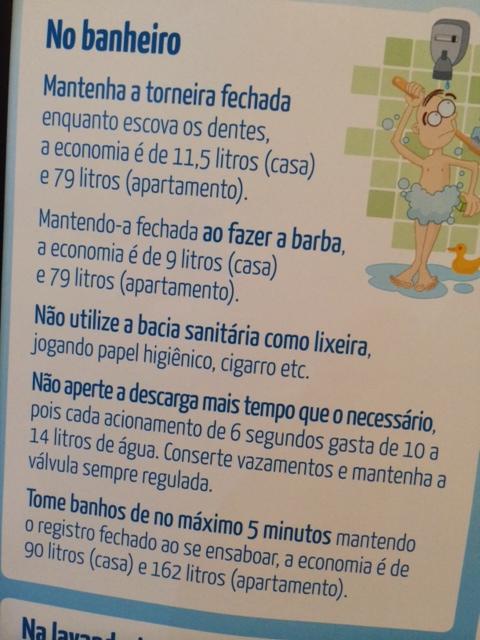 Cartaz da Sabesp mostra as diferenças de gastos
