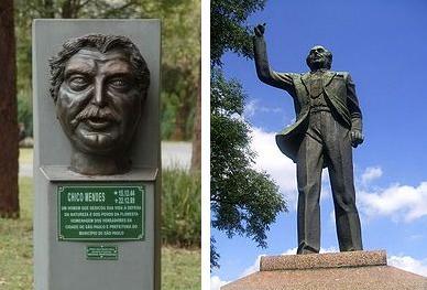 O busto de Chico Mendes e a estátua de Ibrahim Nobre
