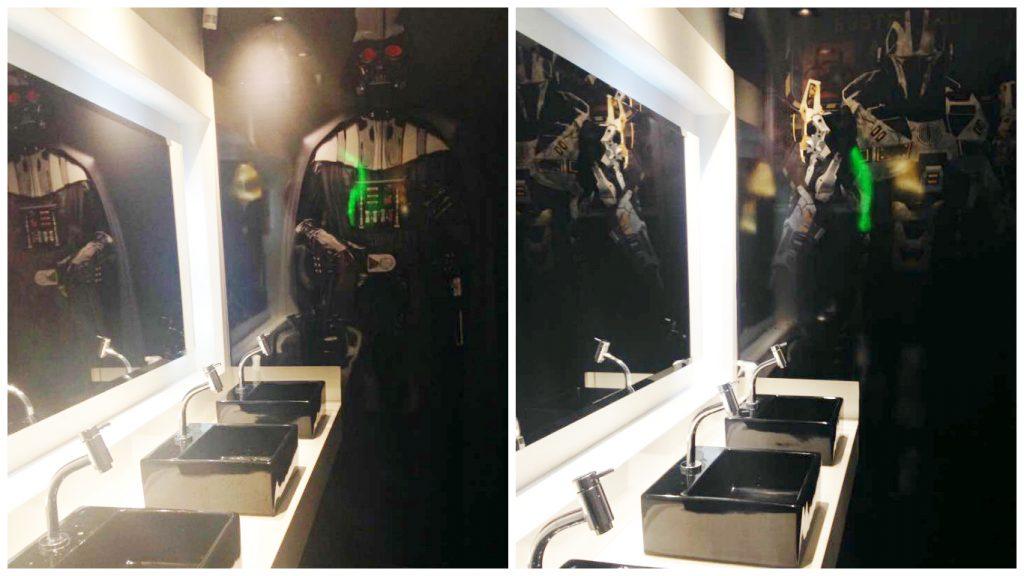 Antes e depois da parede que levava o personagem Darth Vader. A imagem agora é de um personagem anônimo (Foto: Malu Miserochi)