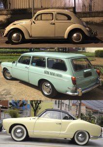 Os outros carros da coleção de Luis são um Fusca 1966 cinza, uma Variant alemã azul-piscina e um Karmann-Ghia 1964 amarelo